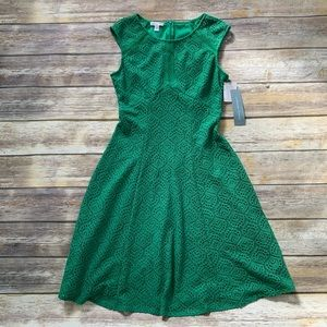 London Times Laced Fit and Flare Dress